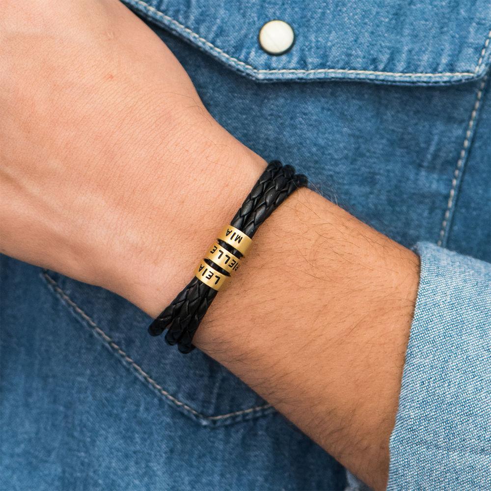 Pulseras Trenzadas para Hombre en Cuero Negro con Pequeñas Cuentas Personalizadas Chapado de Oro 18K - 4