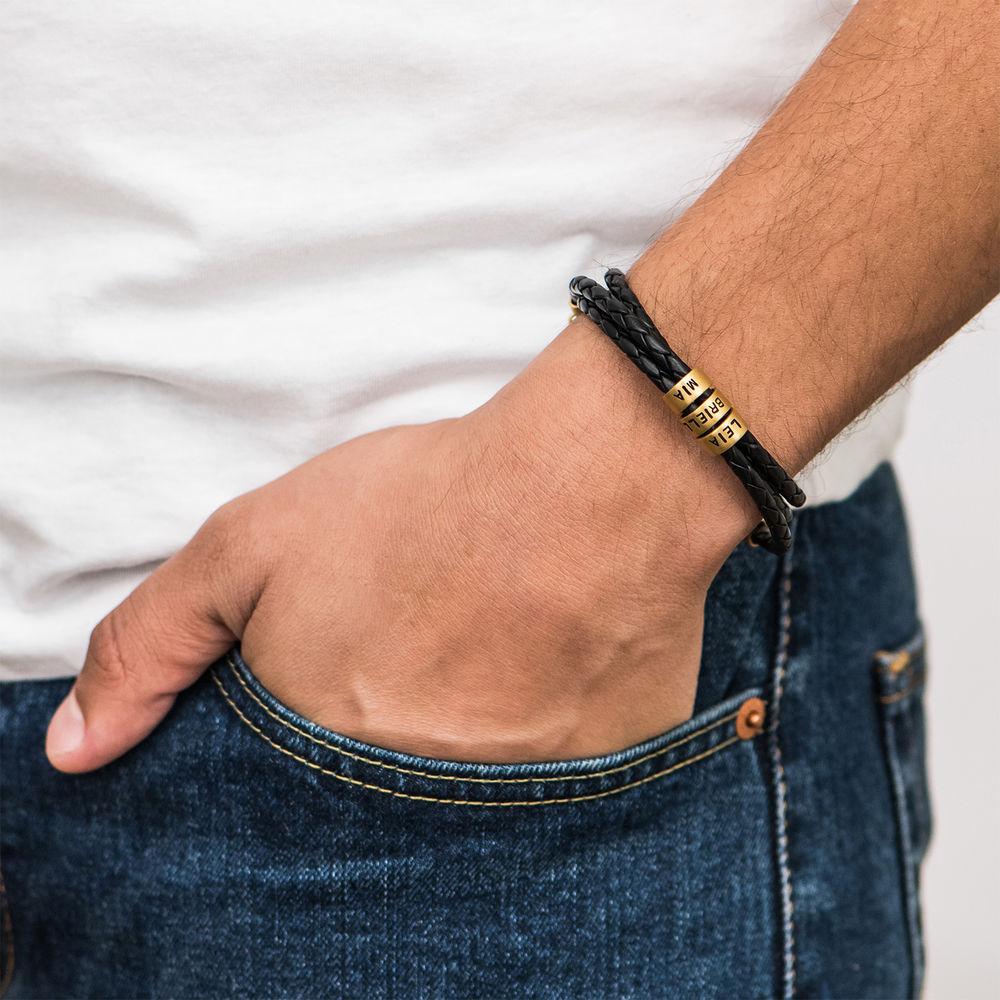 Pulseras Trenzadas para Hombre en Cuero Negro con Pequeñas Cuentas Personalizadas en Oro Vermeil - 3