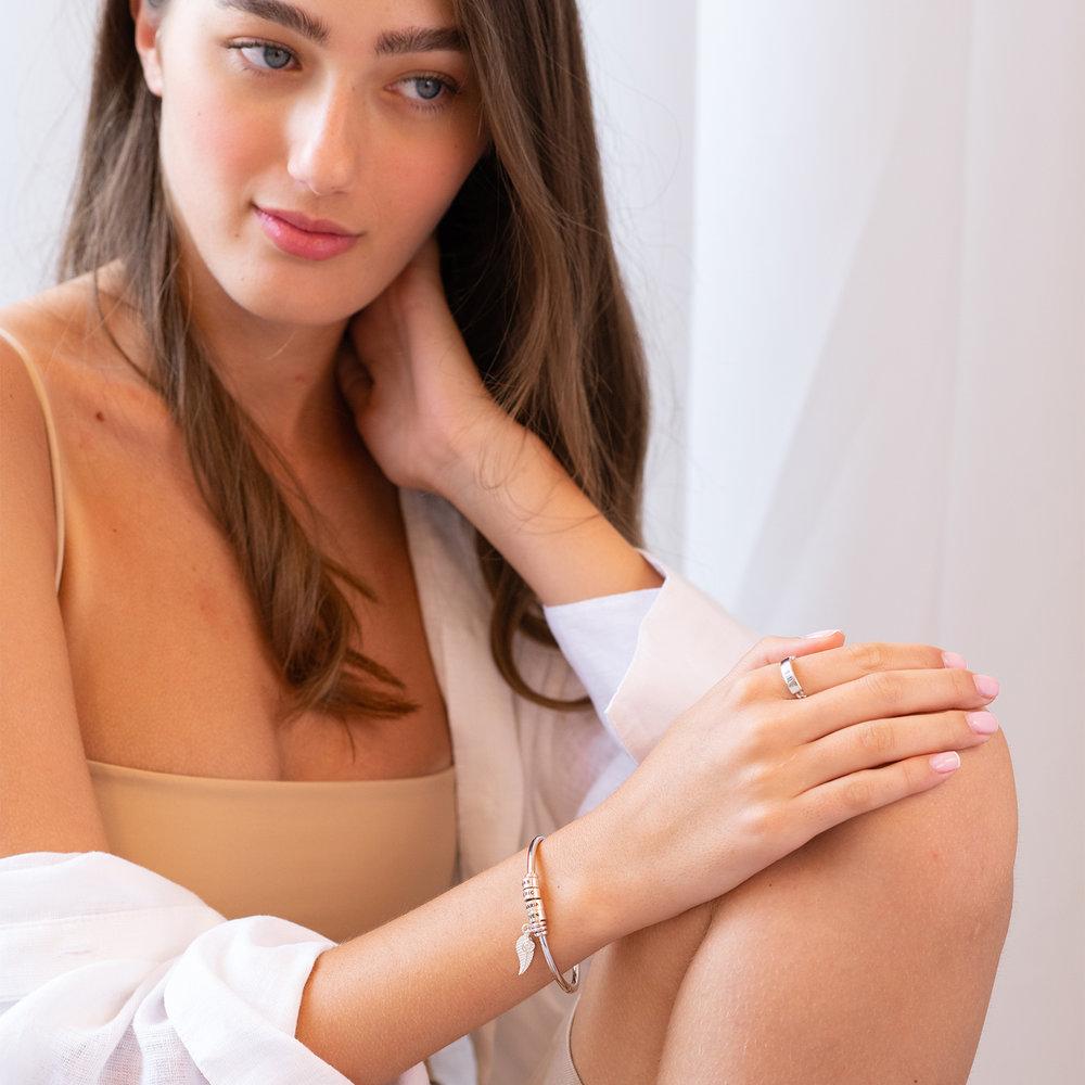 Pulsera Linda ™ Tipo Brazalete con Perlas Personalizadas en Plata del Ley - 4