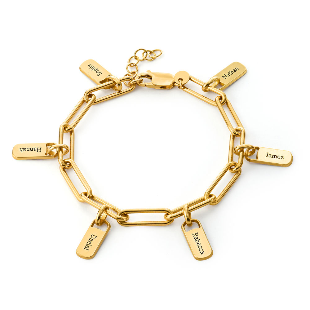 Pulsera Rory™ de Eslabones de Cadena con Dijes Personalizados en Oro Vermeil