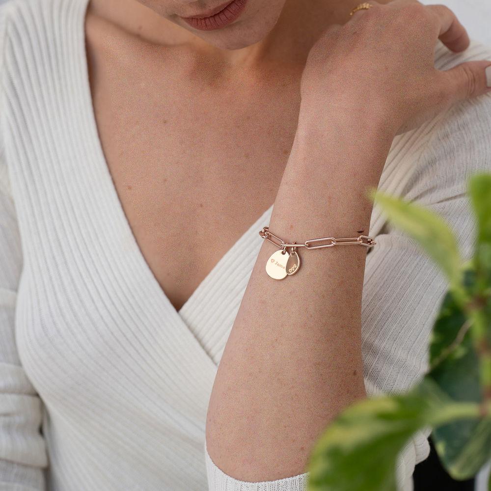 Pulsera Christina™ de Eslabones de Cadena con Dijes Personalizados Chapado en Oro Rosa 18K - 2