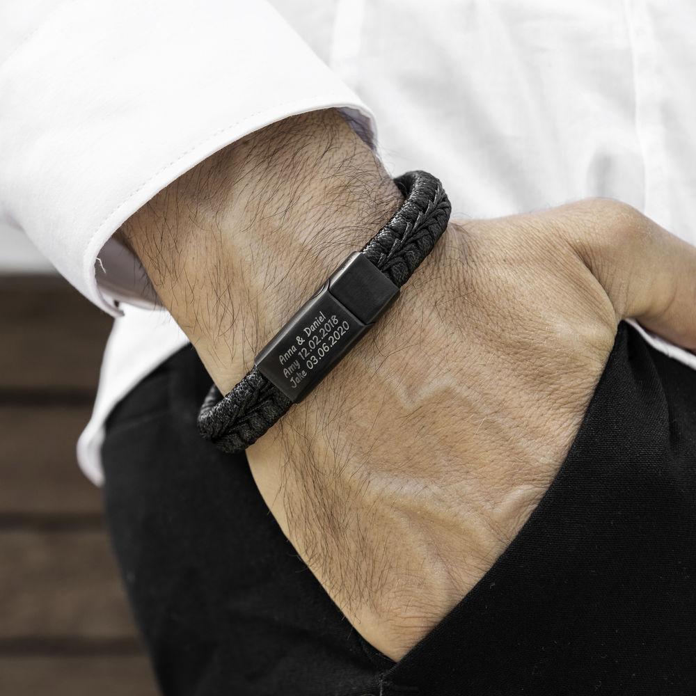 Pulsera Trenzada de Cuero Negro Plano para Hombres - 1