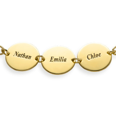 Regalo especial para Mamá - Pulsera de Disco con Nombres chapada en oro de 18k - 1