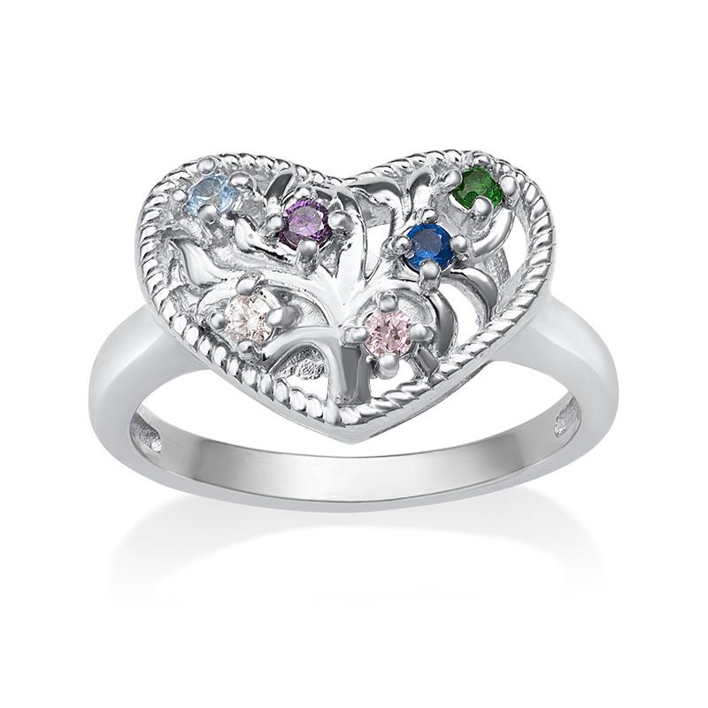 Anillo de Corazón con Piedras de Nacimeinto - 1