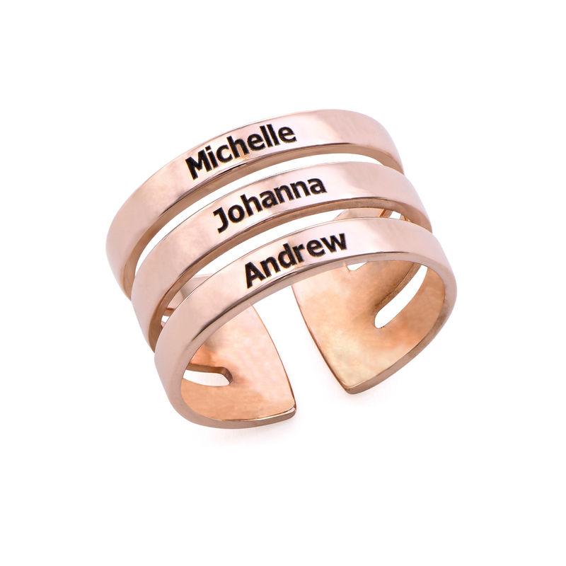 Anillo de Tres Nombres en Chapa de Oro Rosa foto de producto