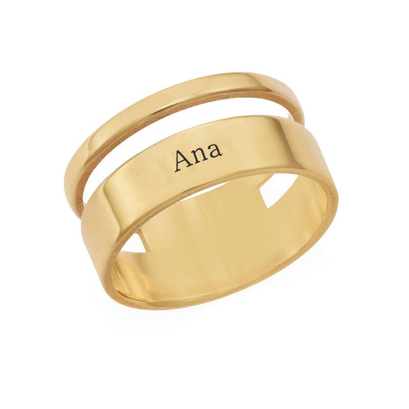 Anillo asimetrico con Nombre en Chapa de Oro product photo