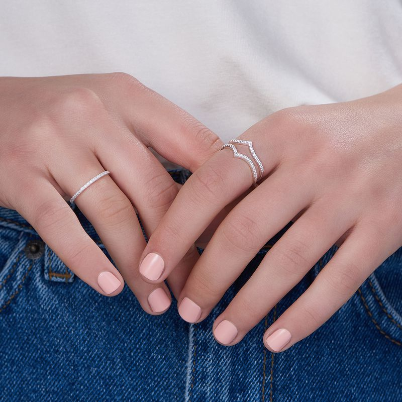 Delicado anillo con circonia cúbica en plata 925 - 3