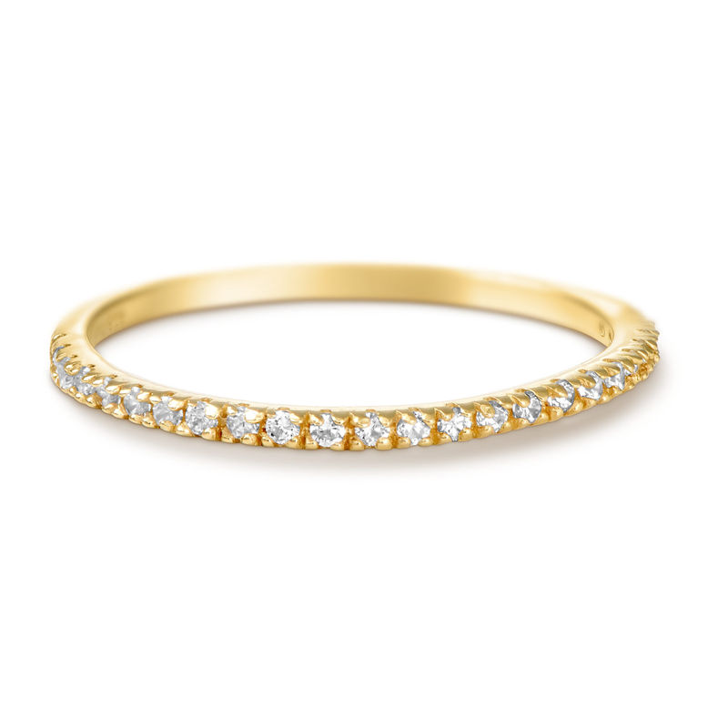 Delicado anillo con circonia cúbica chapado en oro product photo