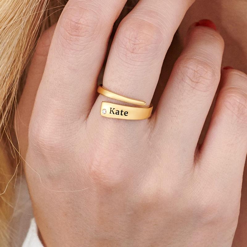 Anillo abierto personalizado con diamante chapado en oro - 3