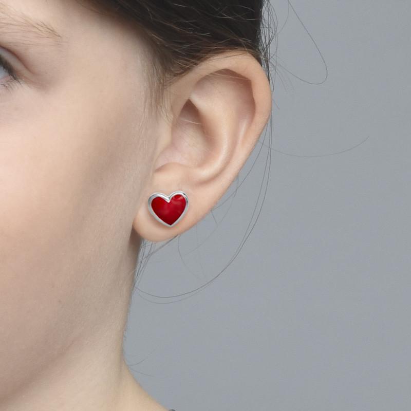 Aretes de Corazón Rojo para niños - 1