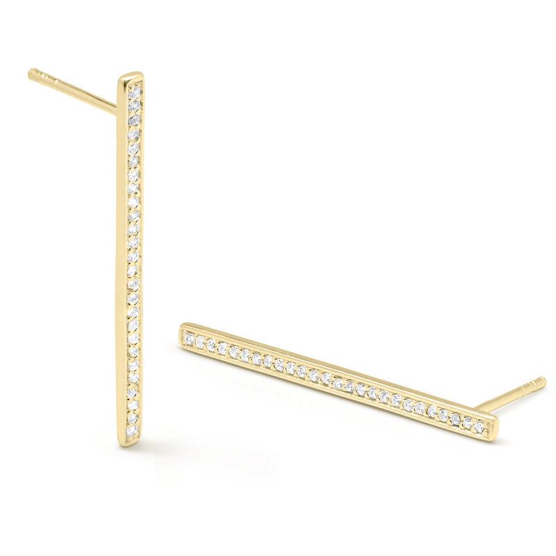 Aretes de barra vertical con circonia cúbica chapados en oro foto de producto