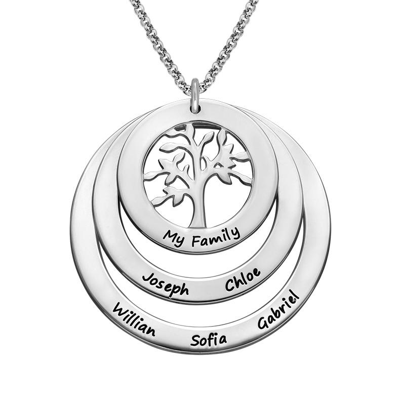 Collar del Círculo de Familia con Árbol de la Familia en Plata de Ley product photo