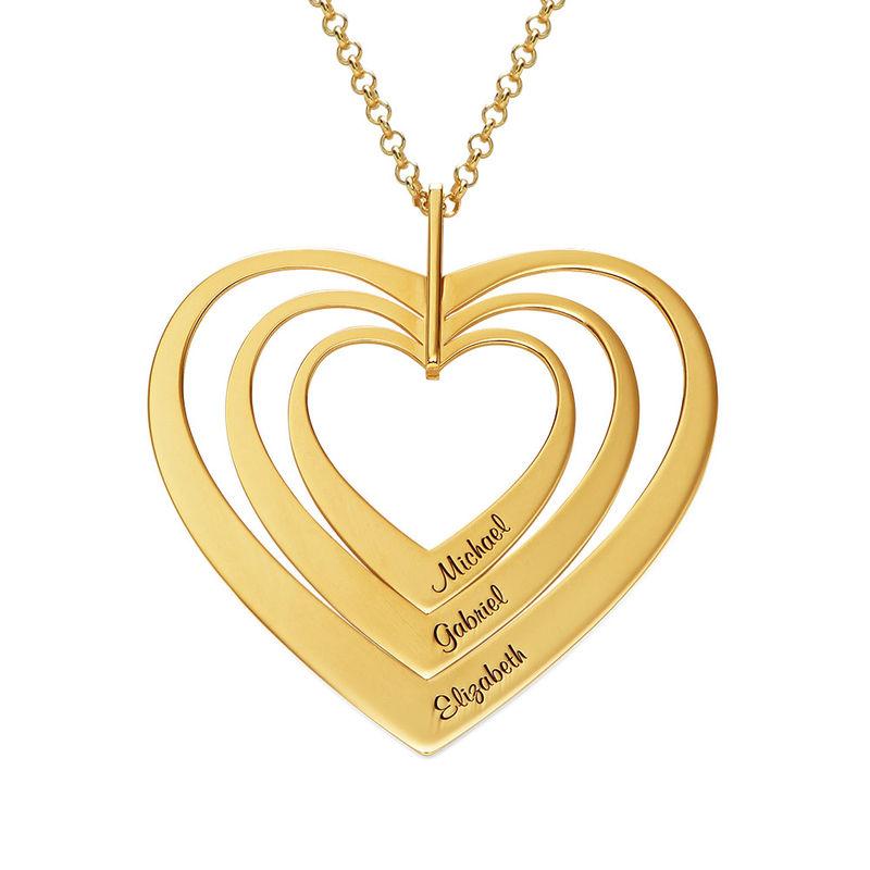 Collar de Corazones de la Familia Chapado en Oro foto de producto