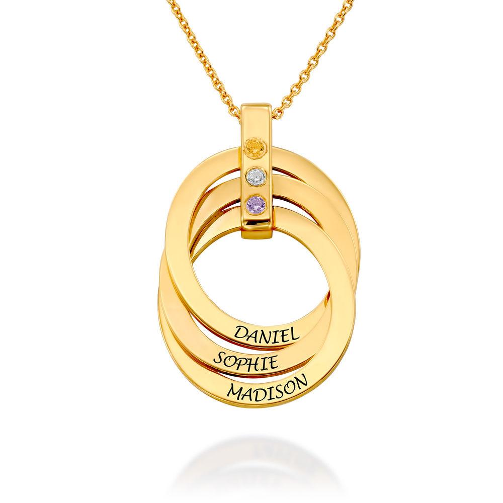 Collar de Anillo Ruso con Piedras Natales en Oro Vermeil foto de producto