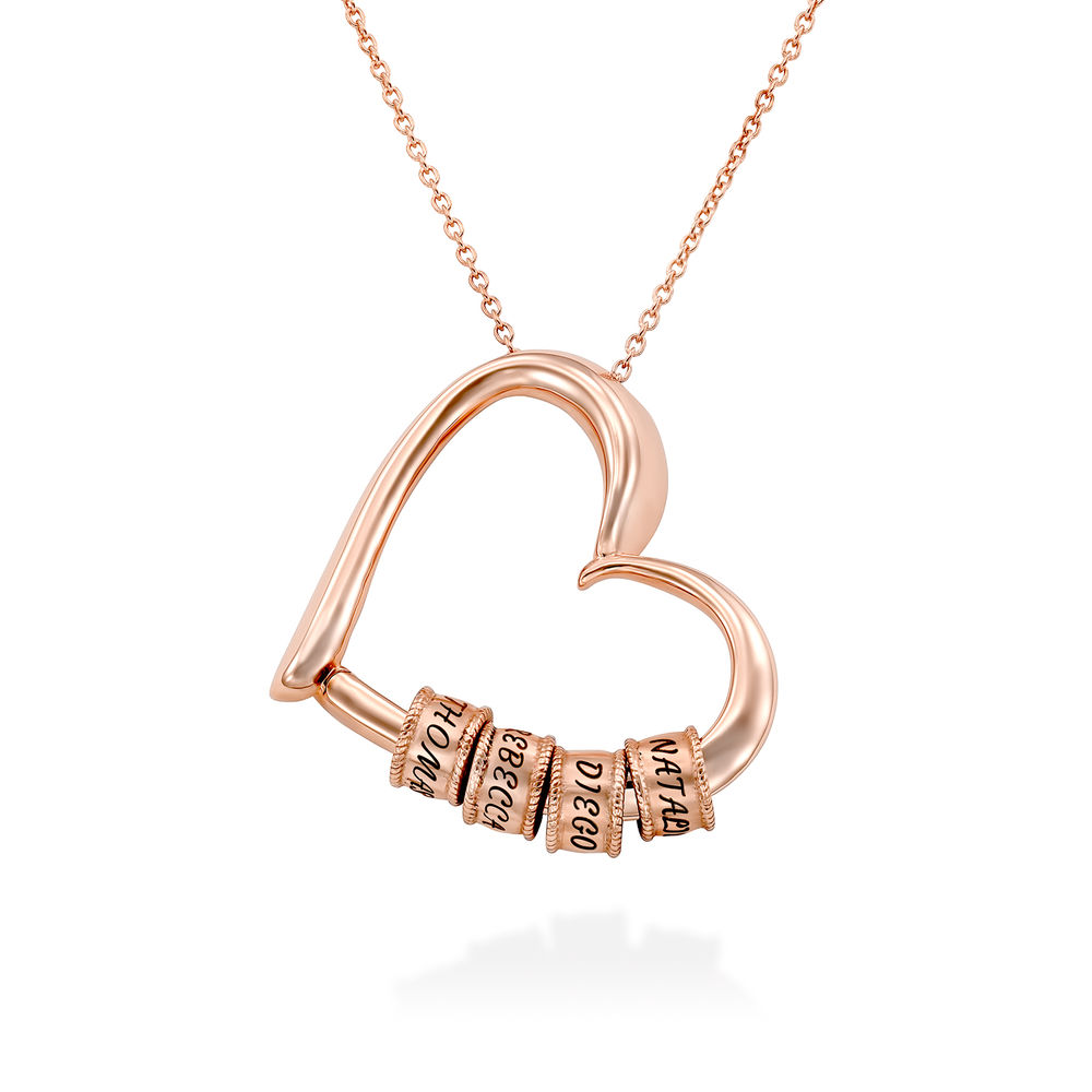 Collar con Colgante de Corazón con Perlas Grabadas Chapado en Oro Rosa 18K foto de producto