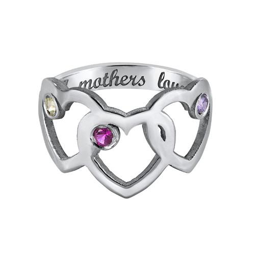 Anillo de Corazón de Mamá y Piedras de Nacimiento - 3