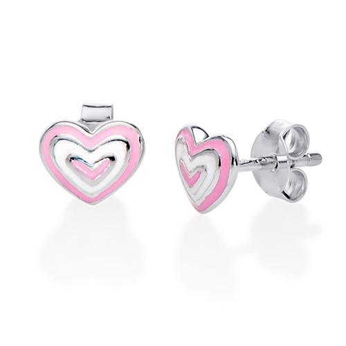 Aretes con Corazón Rosa Infantil