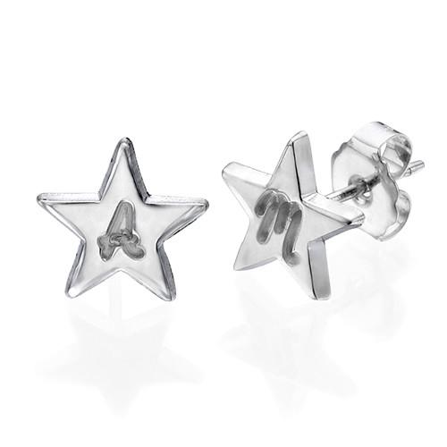 Aretes de Estrella de plata de ley con inicial