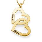 Collar  Corazón en el Corazón de Plata Chapado en Oro