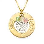 Collar Árbol de la Familia Chapado en Oro con Piedras de la Fortuna