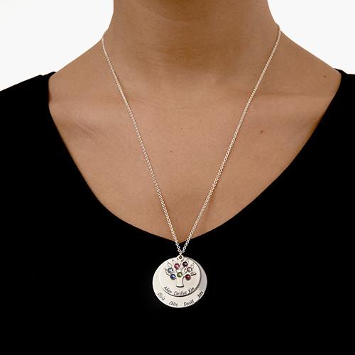 Collar Árbol de la Familia en Círculos con Piedras - 4