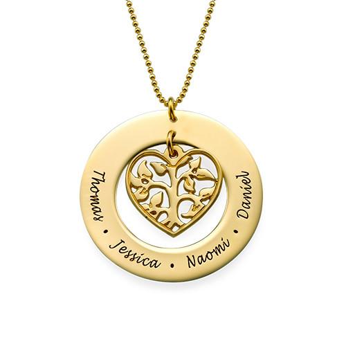 Collar Árbol de la Vida en Corazón Chapado en Oro 18k