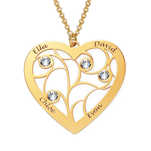 Collar Árbol de la Vida en forma de Corazón con Piedras de Nacimiento Chapado en Oro - 1