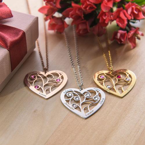 Collar Árbol de la Vida en forma de Corazón con Piedras de Nacimiento Chapado en Oro - 3
