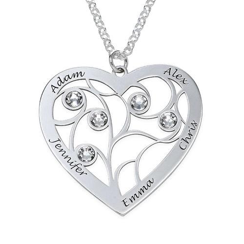 Collar Árbol de la Vida en forma de Corazón con Piedras de Nacimiento en Plata de Ley - 1