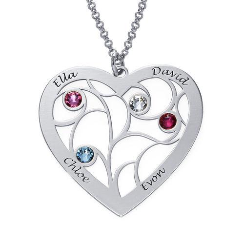 Collar Árbol de la Vida en forma de Corazón con Piedras de Nacimiento en Plata de Ley - 2