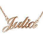 Collar Clásico con Nombre Fuente Clásica Chapado en Oro Rosa 18k