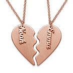 Collar Corazón Grabado de Parejas  en Chapa de Oro Rosa Mate