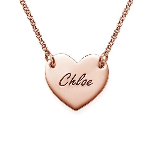 Collar Corazón Grabado Chapado en Oro Rosa de 18k