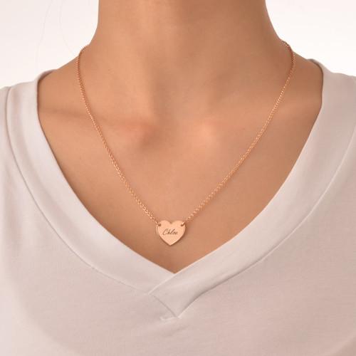 Collar Corazón Grabado Chapado en Oro Rosa de 18k - 1