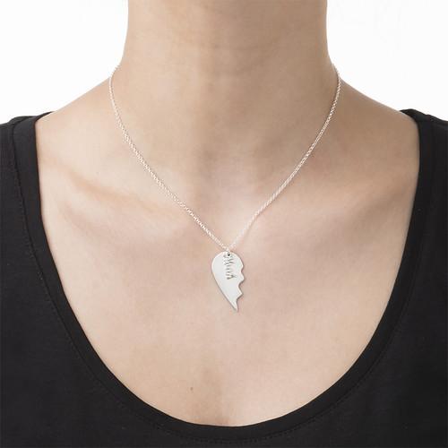 Collar Corazón Grabado de Parejas en Plata Mate - 2