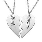 Collar Corazón Grabado de Parejas en Plata Mate