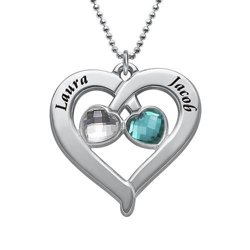 Collar Corazón Personalizado con Piedras de Nacimiento