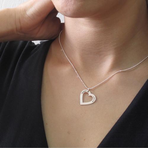 Collar Corazón con Inscripción, Plata de Ley - 2