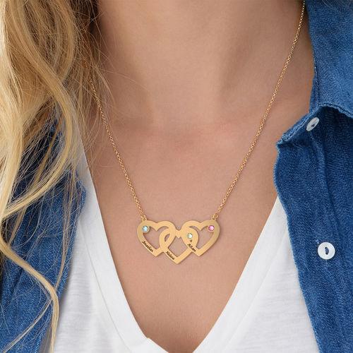 Collar Corazones Entrelazados con Piedras de Nacimiento en Chapa de Oro - 2