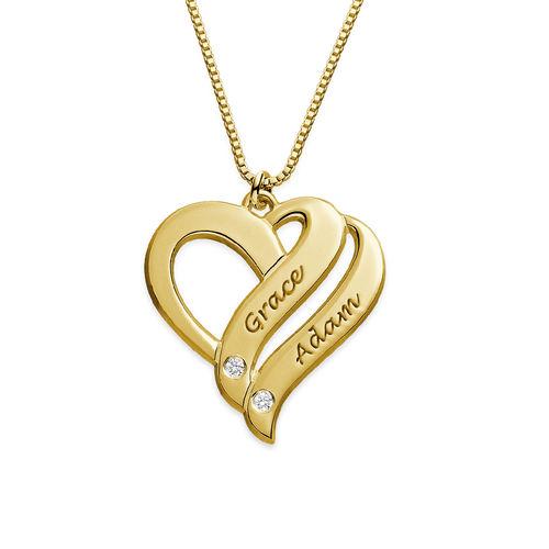 """Collar """"Dos Corazones por Siempre Uno"""" con Diamantes Chapado en Oro"""