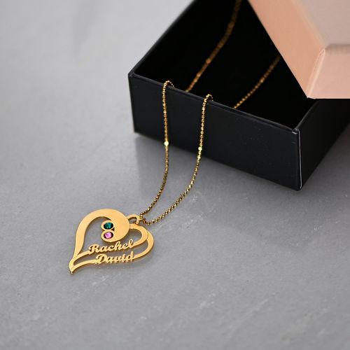 Collar Dos Corazones por Siempre Uno en Chapa de Oro - 3