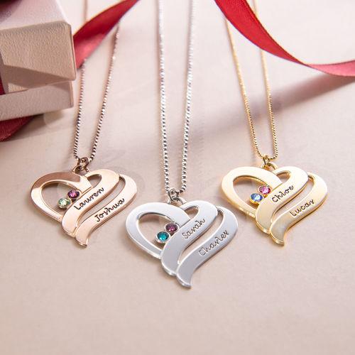 Collar Dos Corazones por siempre Uno con piedras de Nacimiento en Chapa de Oro Rosa - 2