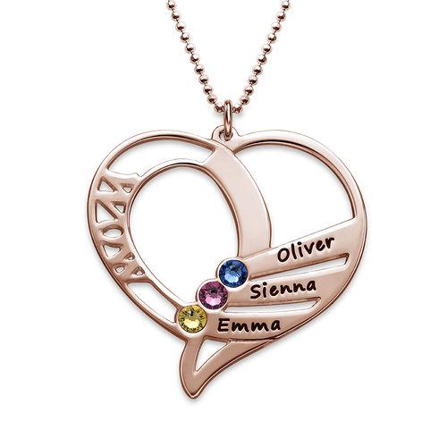 Collar Grabado con Piedras de Nacimiento para Mamá - Chapado en oro rosa - 1