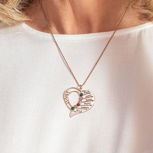 Collar Grabado con Piedras de Nacimiento para Mamá - Chapado en oro rosa - 5