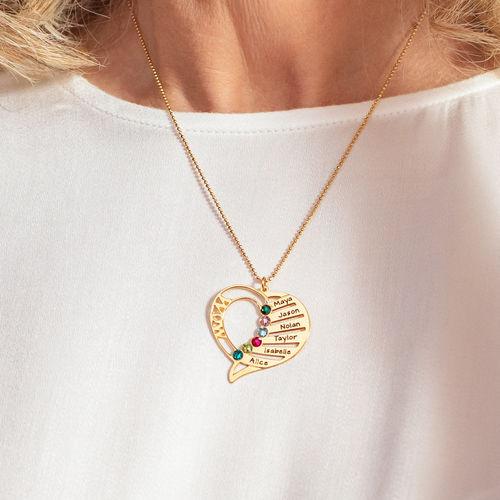 Collar Grabado con Piedras de Nacimiento para Mamá Chapado en Oro 18k - 5
