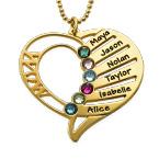 Collar Grabado con Piedras de Nacimiento para Mamá Chapado en Oro 18k