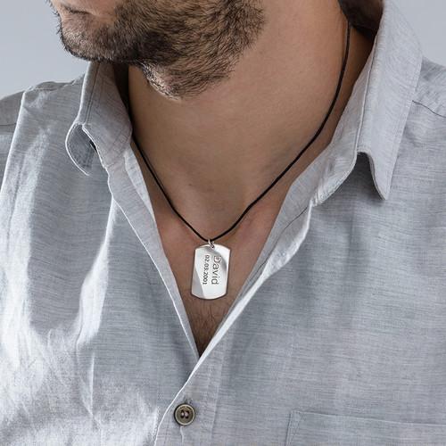 Collar Identificación de plata para hombre - 1
