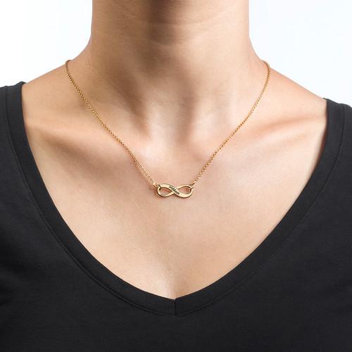Collar Infinito Grabado Chapado en Oro 18K - 1