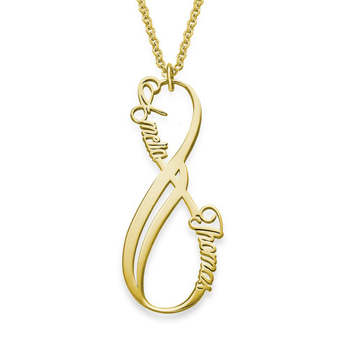 collar infinito con nombre vertical chapado en oro micollarconnombre. Black Bedroom Furniture Sets. Home Design Ideas