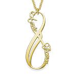 Collar Infinito con Nombre Vertical Chapado en Oro